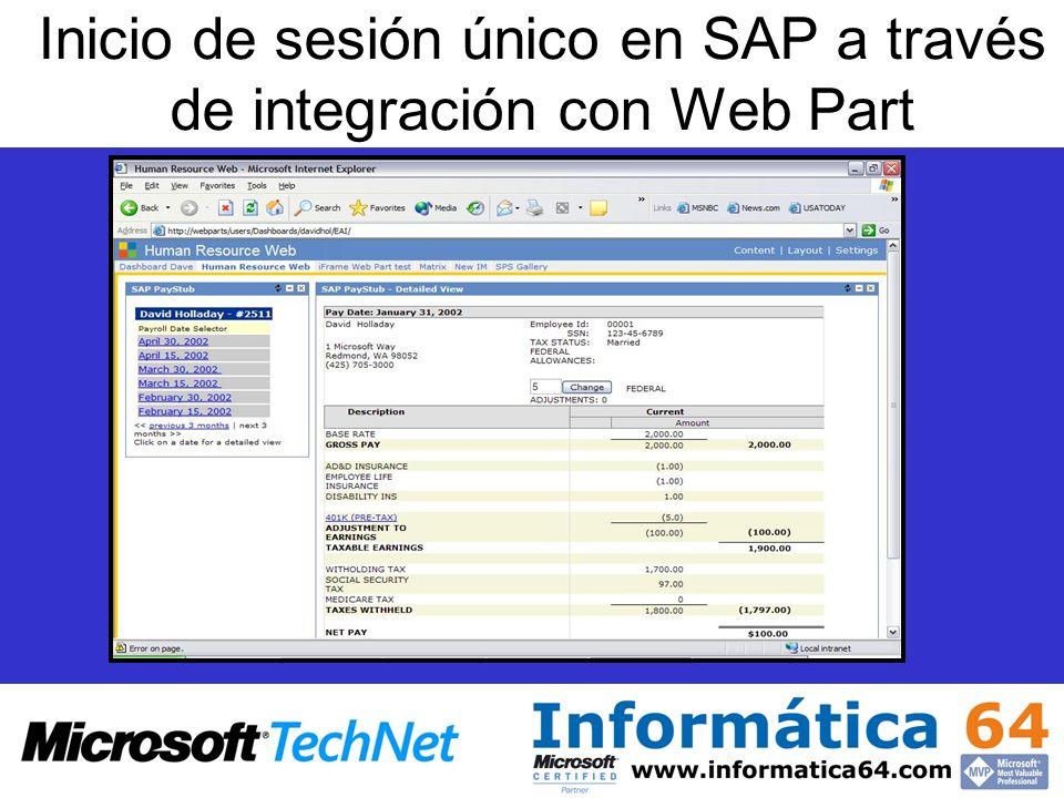 Inicio de sesión único en SAP a través de integración con Web Part