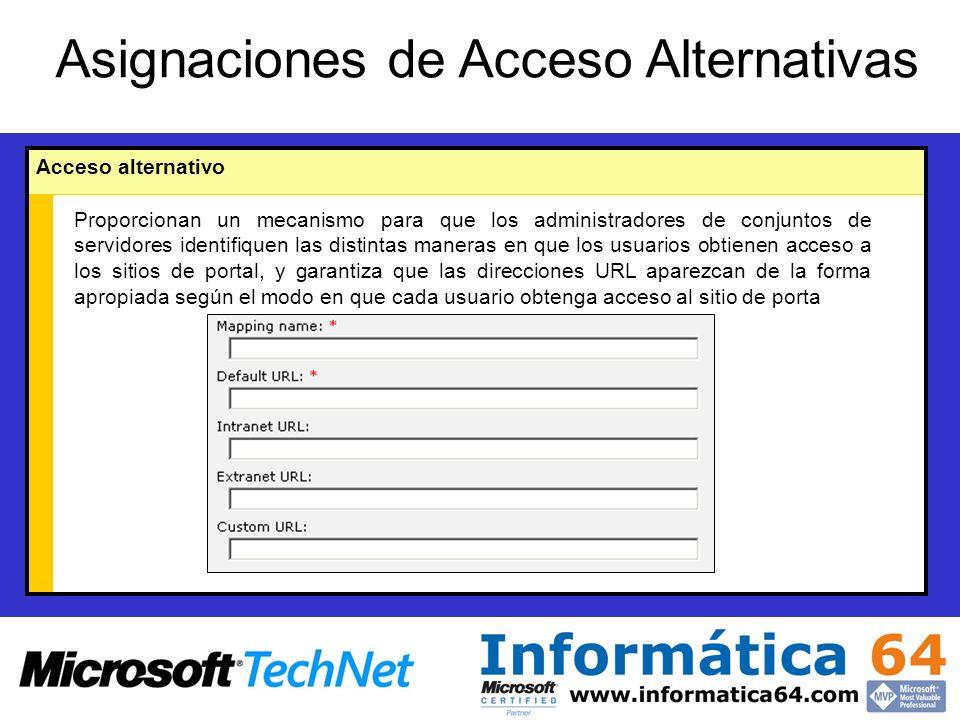 Asignaciones de Acceso Alternativas Acceso alternativo Proporcionan un mecanismo para que los administradores de conjuntos de servidores identifiquen las distintas maneras en que los usuarios obtienen acceso a los sitios de portal, y garantiza que las direcciones URL aparezcan de la forma apropiada según el modo en que cada usuario obtenga acceso al sitio de porta