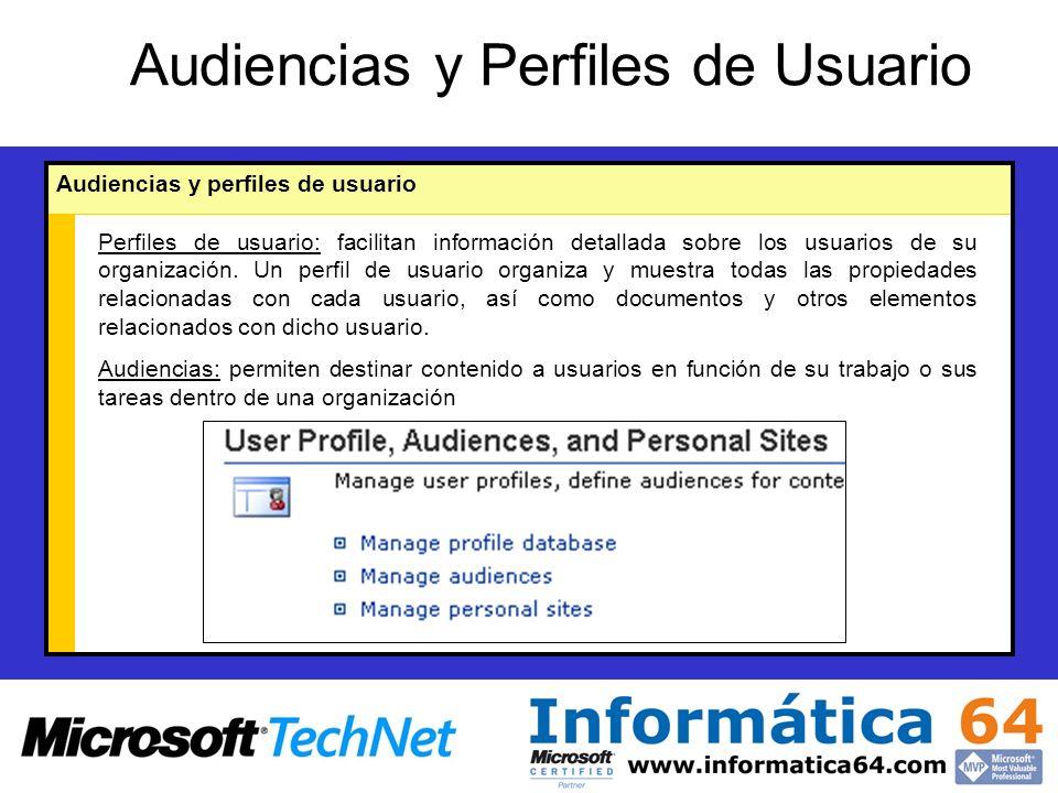 Audiencias y Perfiles de Usuario Audiencias y perfiles de usuario Perfiles de usuario: facilitan información detallada sobre los usuarios de su organización.
