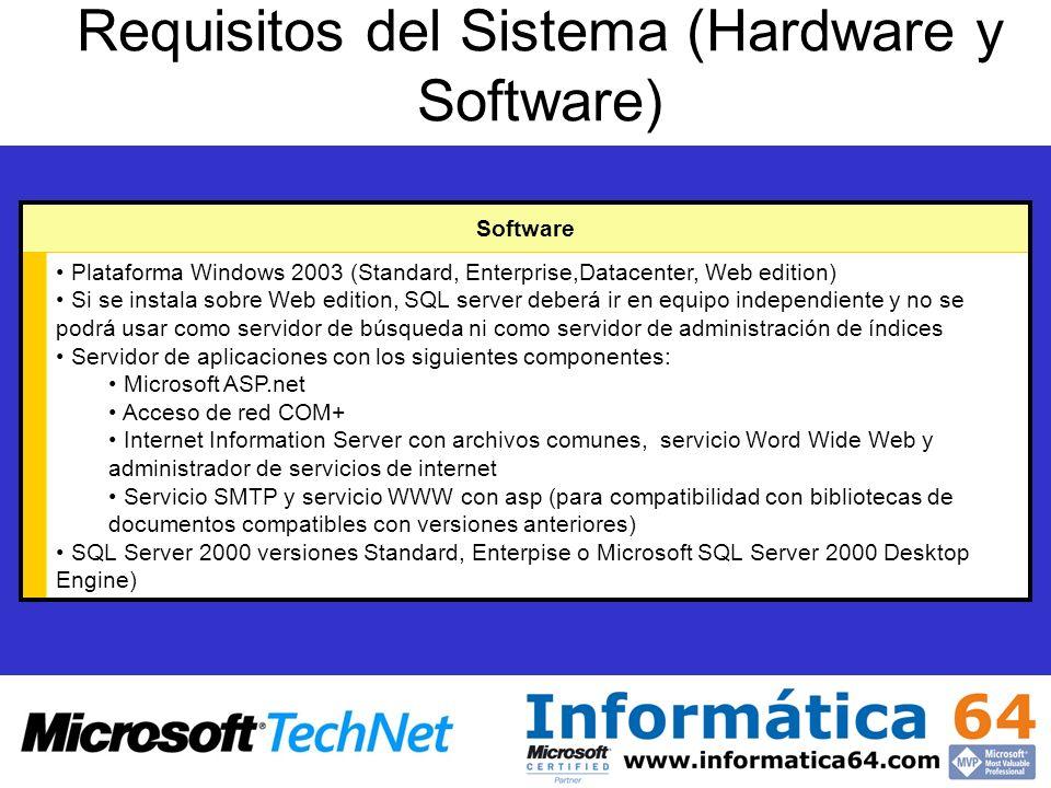 Requisitos del Sistema (Hardware y Software) Plataforma Windows 2003 (Standard, Enterprise,Datacenter, Web edition) Si se instala sobre Web edition, S
