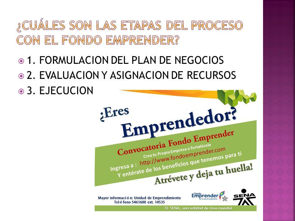 1. FORMULACION DEL PLAN DE NEGOCIOS 2. EVALUACION Y ASIGNACION DE RECURSOS 3. EJECUCION
