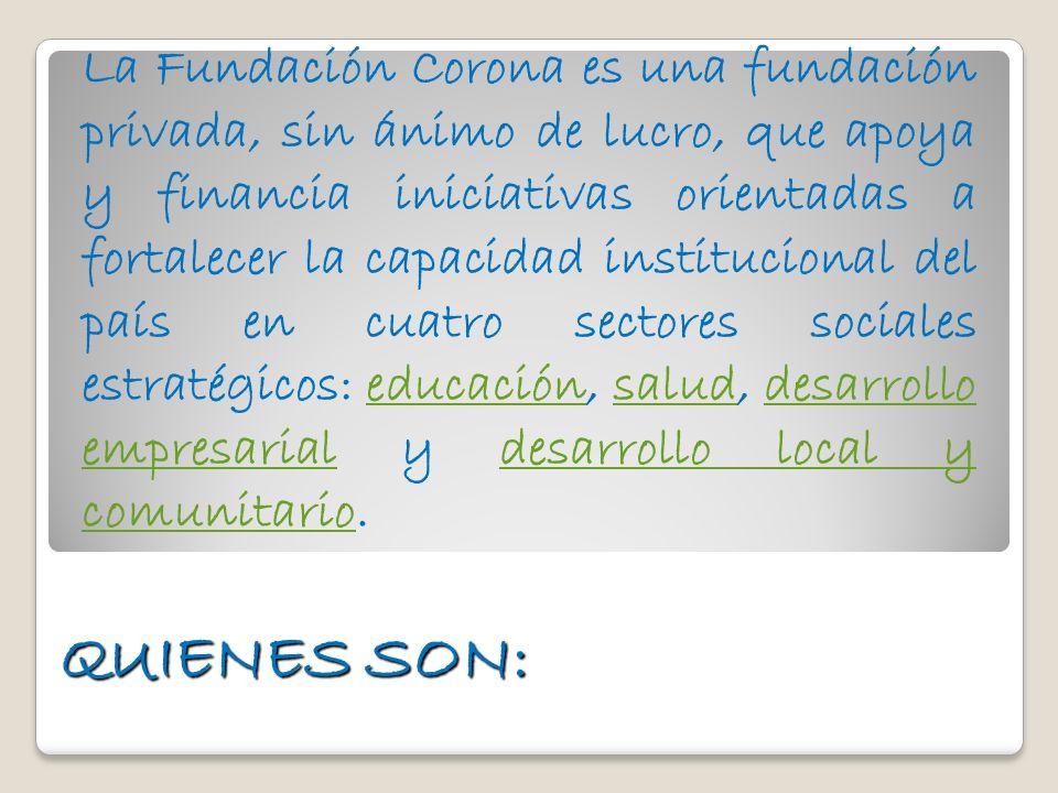 La Fundación Corona es una fundación privada, sin ánimo de lucro, que apoya y financia iniciativas orientadas a fortalecer la capacidad institucional