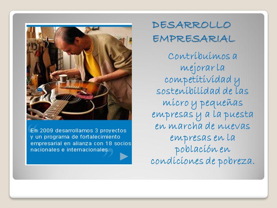 DESARROLLO EMPRESARIAL Contribuimos a mejorar la competitividad y sostenibilidad de las micro y pequeñas empresas y a la puesta en marcha de nuevas em