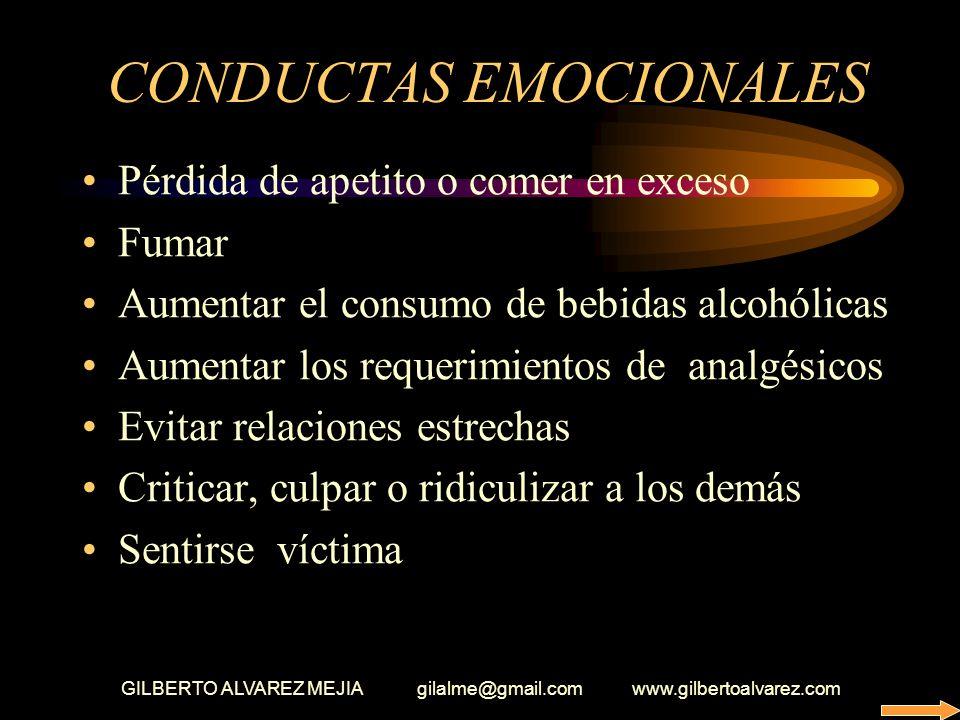 GILBERTO ALVAREZ MEJIA gilalme@gmail.com www.gilbertoalvarez.com SINTOMAS EMOCIONALES Desconcentración Le abruma el trabajo Siempre estar preocupado S