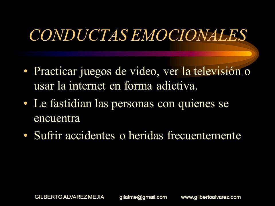 GILBERTO ALVAREZ MEJIA gilalme@gmail.com www.gilbertoalvarez.com CONDUCTAS EMOCIONALES Pérdida de apetito o comer en exceso Fumar Aumentar el consumo