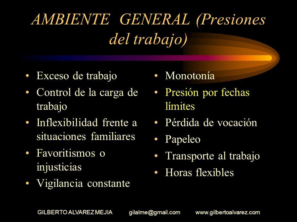 GILBERTO ALVAREZ MEJIA gilalme@gmail.com www.gilbertoalvarez.com AMBIENTE GENERAL Seguridad en el empleo Relaciones con su jefe Cambio de prioridades