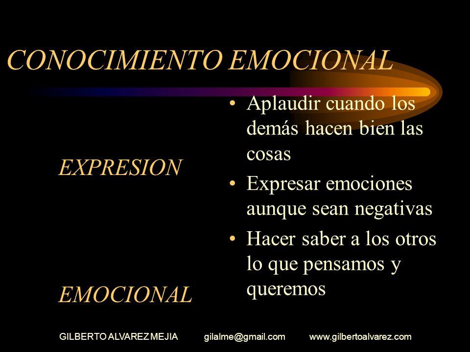 GILBERTO ALVAREZ MEJIA gilalme@gmail.com www.gilbertoalvarez.com CONOCIMIENTO EMOCIONAL (Conciencia emocional) Juzgarse a si mismo por como creemos qu