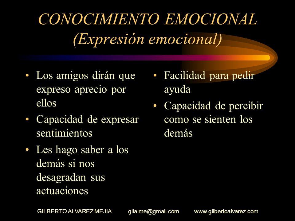 GILBERTO ALVAREZ MEJIA gilalme@gmail.com www.gilbertoalvarez.com CONOCIMIENTO EMOCIONAL Aplaudir cuando los demás hacen bien las cosas Expresar emocio