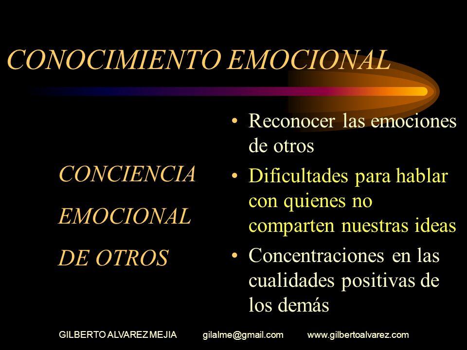 GILBERTO ALVAREZ MEJIA gilalme@gmail.com www.gilbertoalvarez.com CONOCIMIENTO EMOCIONAL (Expresión emocional) Los amigos dirán que expreso aprecio por