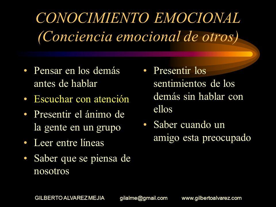 GILBERTO ALVAREZ MEJIA gilalme@gmail.com www.gilbertoalvarez.com CONOCIMIENTO EMOCIONAL Reconocer las emociones de otros Dificultades para hablar con
