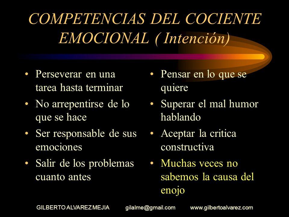 III- COMPETENCIAS DEL COCIENTE EMOCIONAL INTENCION Concentración Terminar lo que se hace Saber decir no Auto recompensarse Dejar de lado recompensas c