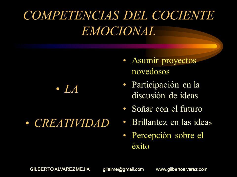 GILBERTO ALVAREZ MEJIA gilalme@gmail.com www.gilbertoalvarez.com COMPETENCIAS DEL COCIENTE EMOCIONAL ( Intención) Perseverar en una tarea hasta termin
