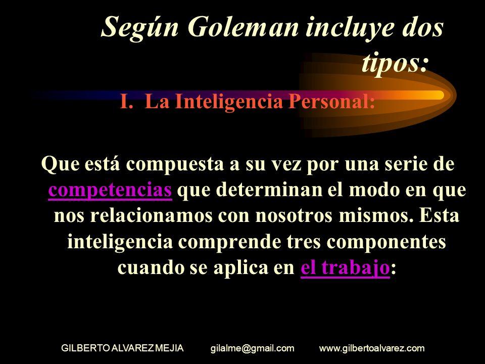 GILBERTO ALVAREZ MEJIA gilalme@gmail.com www.gilbertoalvarez.com Según Goleman incluye dos tipos: I.