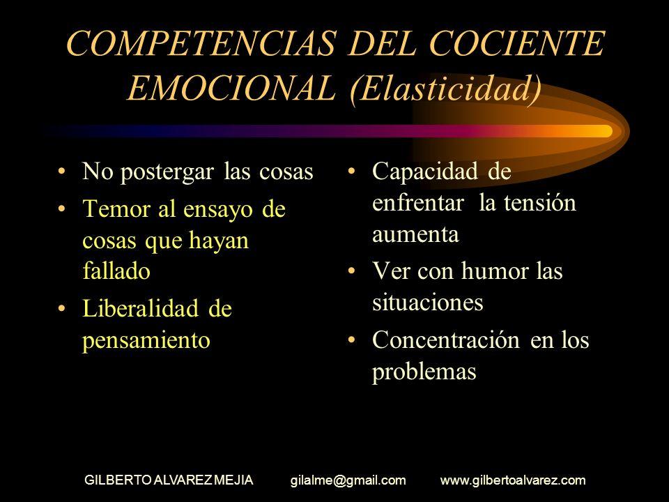 GILBERTO ALVAREZ MEJIA gilalme@gmail.com www.gilbertoalvarez.com COMPETENCIAS DEL COCIENTE EMOCIONAL ELASTICIDAD Capacidad de reacción Dedicación Los