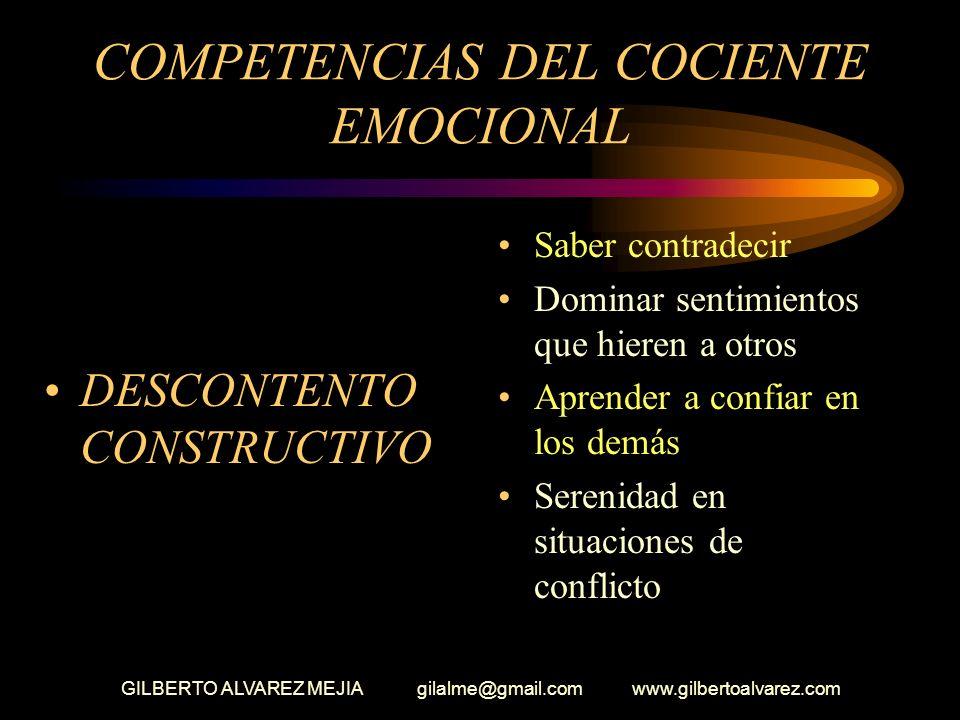GILBERTO ALVAREZ MEJIA gilalme@gmail.com www.gilbertoalvarez.com COMPETENCIAS DEL COCIENTE EMOCIONAL (Conexiones interpersonales) Claridad en saber qu