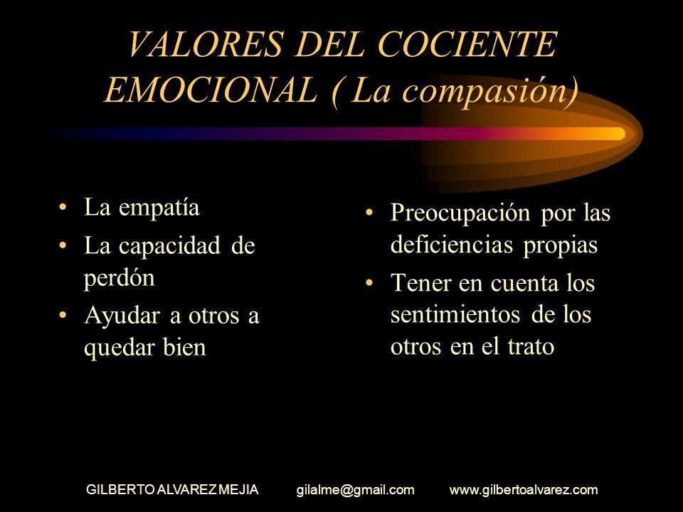 IV - VALORES DEL COCIENTE EMOCIONAL LA COMPASION Sentir el dolor de otros Percibir las emociones de otros por su lenguaje gestual Actuar con respeto p