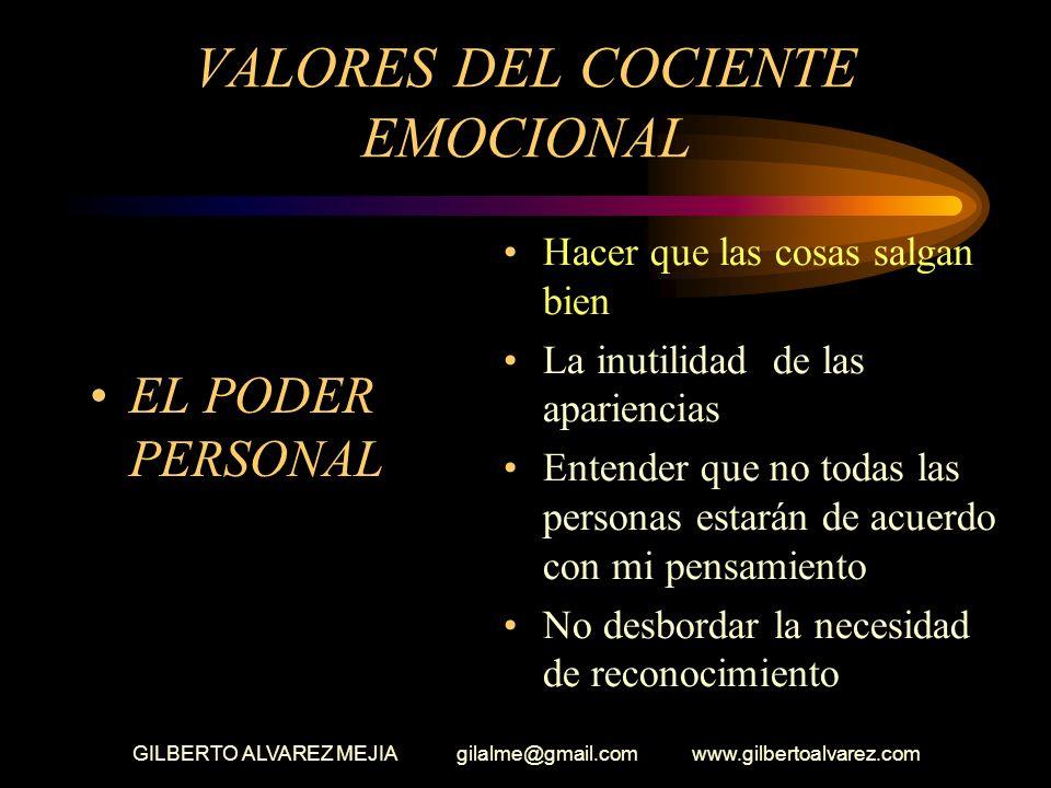 GILBERTO ALVAREZ MEJIA gilalme@gmail.com www.gilbertoalvarez.com VALORES DEL COCIENTE EMOCIONAL RADIO DE CONFIANZA Capacidad de generar credibilidad e