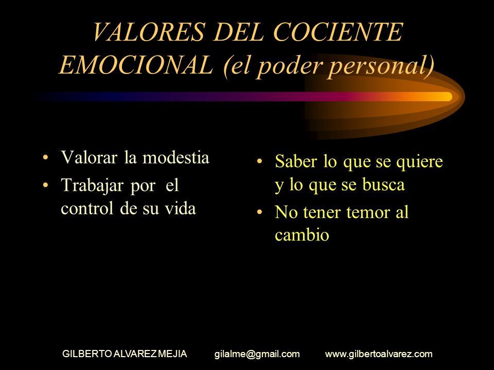 GILBERTO ALVAREZ MEJIA gilalme@gmail.com www.gilbertoalvarez.com VALORES DEL COCIENTE EMOCIONAL EL PODER PERSONAL Hacer que las cosas salgan bien La i