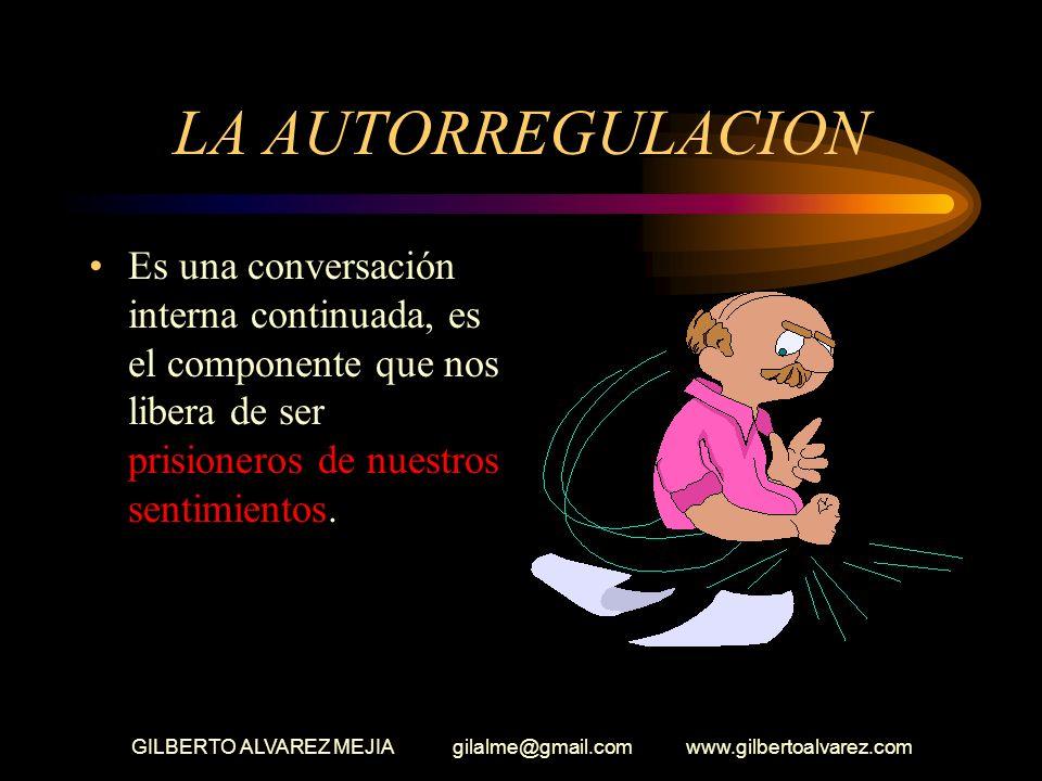 GILBERTO ALVAREZ MEJIA gilalme@gmail.com www.gilbertoalvarez.com LA AUTORREGULACION Es una conversación interna continuada, es el componente que nos libera de ser prisioneros de nuestros sentimientos.