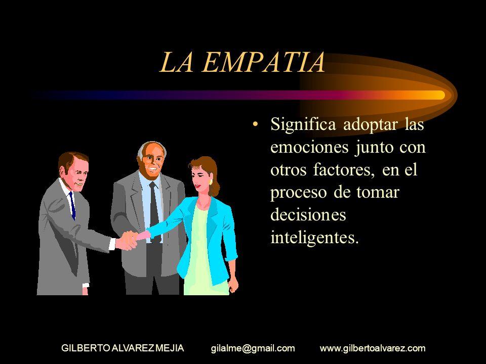 GILBERTO ALVAREZ MEJIA gilalme@gmail.com www.gilbertoalvarez.com LA EMPATIA Significa adoptar las emociones junto con otros factores, en el proceso de tomar decisiones inteligentes.