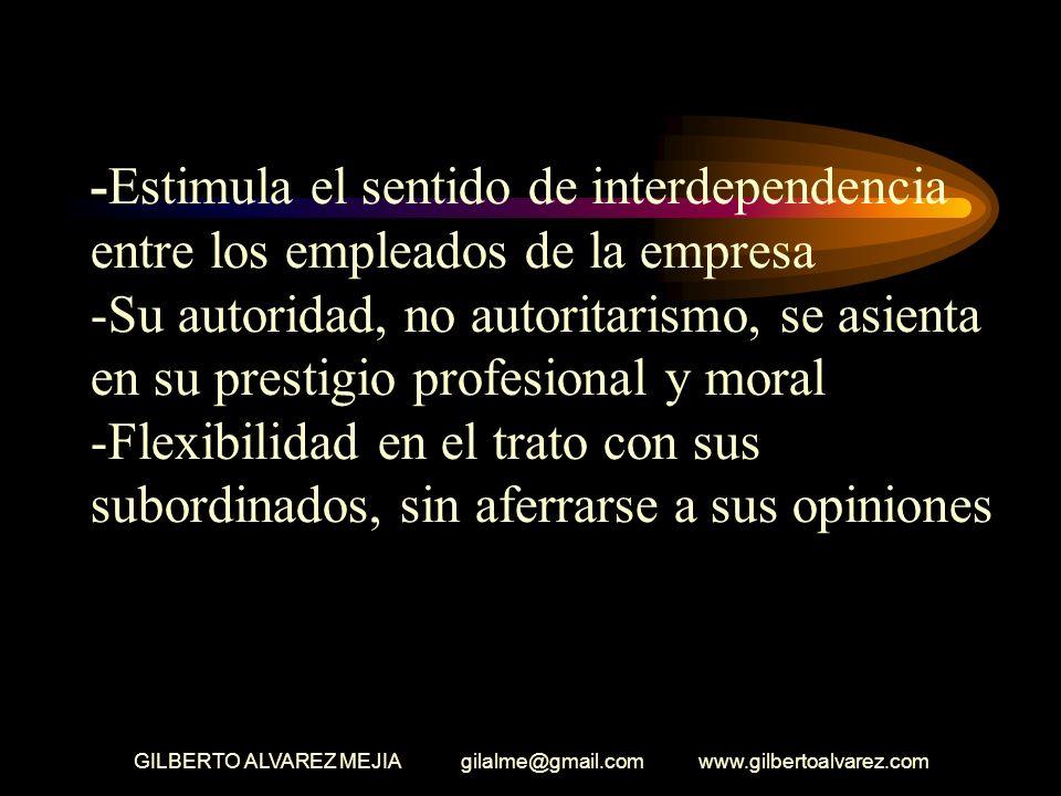 GILBERTO ALVAREZ MEJIA gilalme@gmail.com www.gilbertoalvarez.com -Es consciente de los aspectos positivos y negativos de la empresa -Autocontrol de su