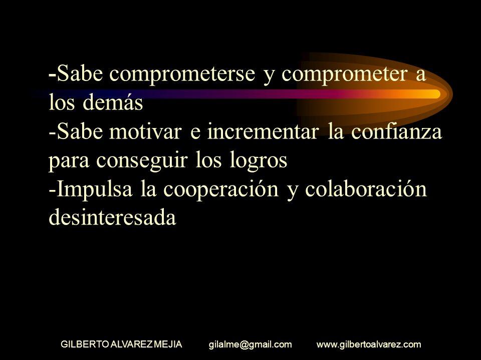 GILBERTO ALVAREZ MEJIA gilalme@gmail.com www.gilbertoalvarez.com -Estimula el sentido de interdependencia entre los empleados de la empresa -Su autori