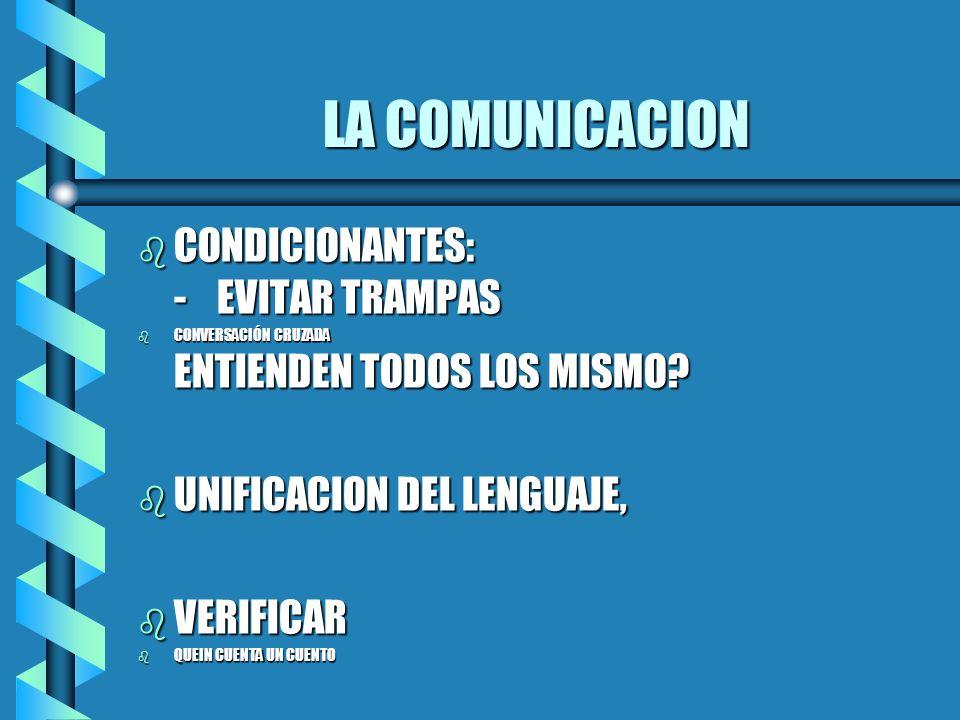 LA COMUNICACION b CONDICIONANTES: - EVITAR TRAMPAS b CONVERSACIÓN CRUZADA ENTIENDEN TODOS LOS MISMO? b UNIFICACION DEL LENGUAJE, b VERIFICAR b QUEIN C