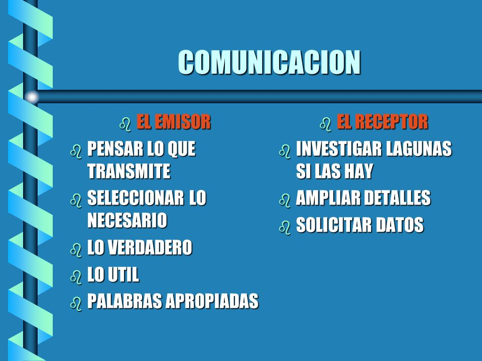 COMUNICACION b EL EMISOR b PENSAR LO QUE TRANSMITE b SELECCIONAR LO NECESARIO b LO VERDADERO b LO UTIL b PALABRAS APROPIADAS b EL RECEPTOR b INVESTIGA