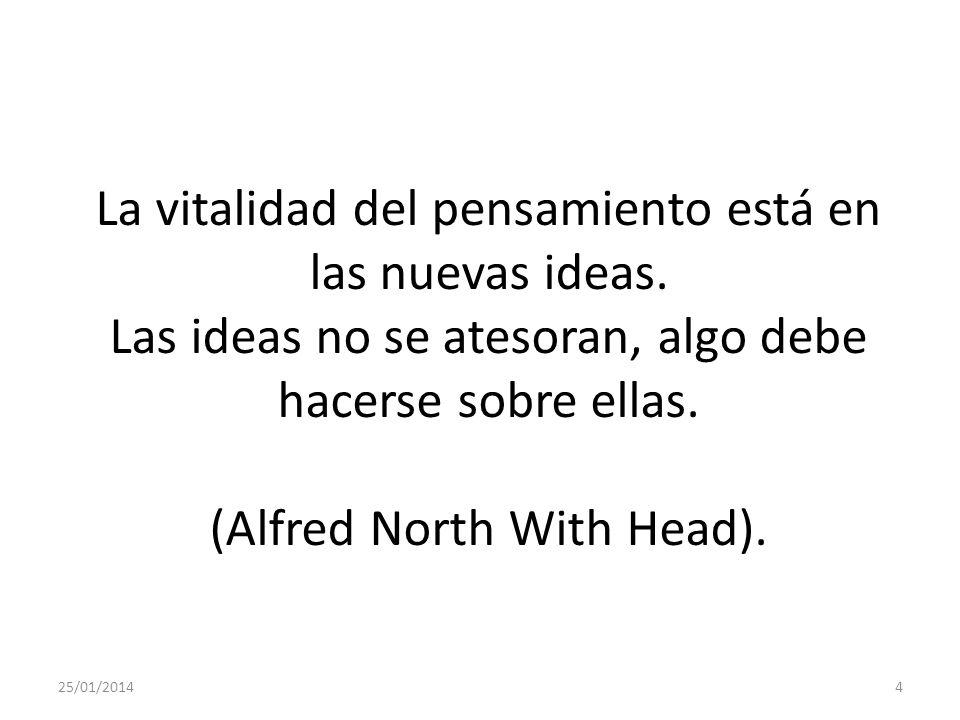 25/01/20144 La vitalidad del pensamiento está en las nuevas ideas.