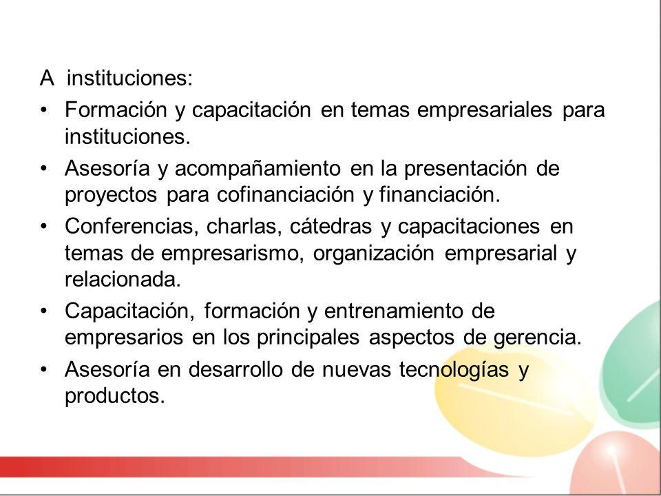 A instituciones: Formación y capacitación en temas empresariales para instituciones.