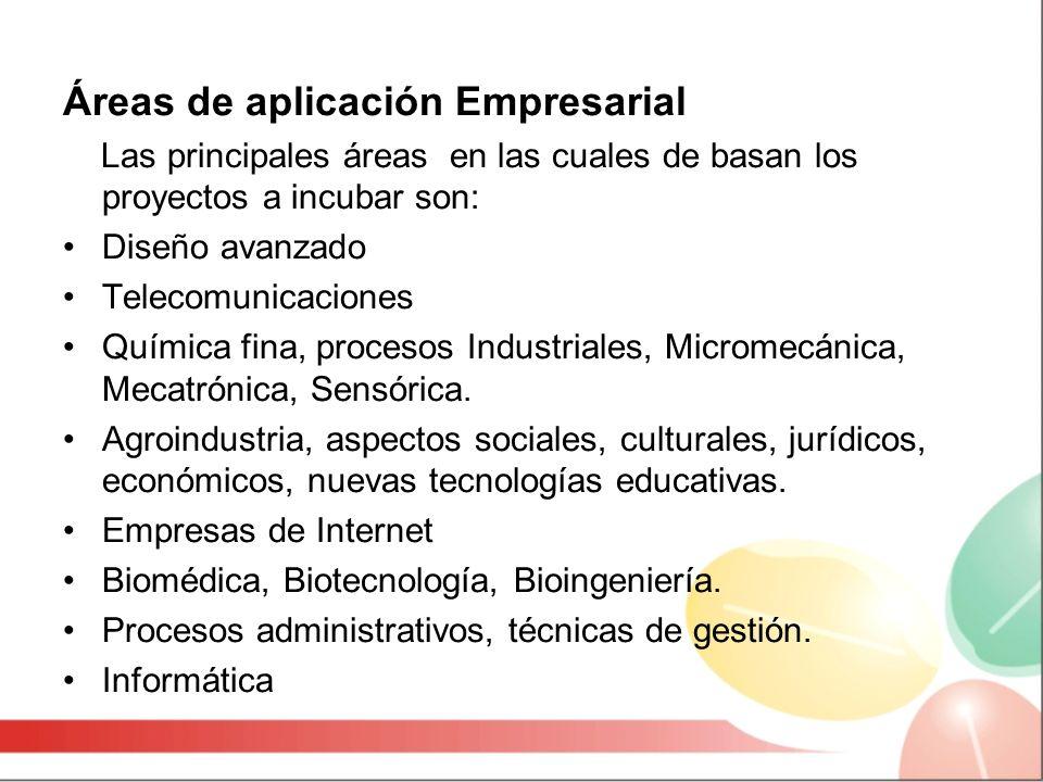 Áreas de aplicación Empresarial Las principales áreas en las cuales de basan los proyectos a incubar son: Diseño avanzado Telecomunicaciones Química fina, procesos Industriales, Micromecánica, Mecatrónica, Sensórica.