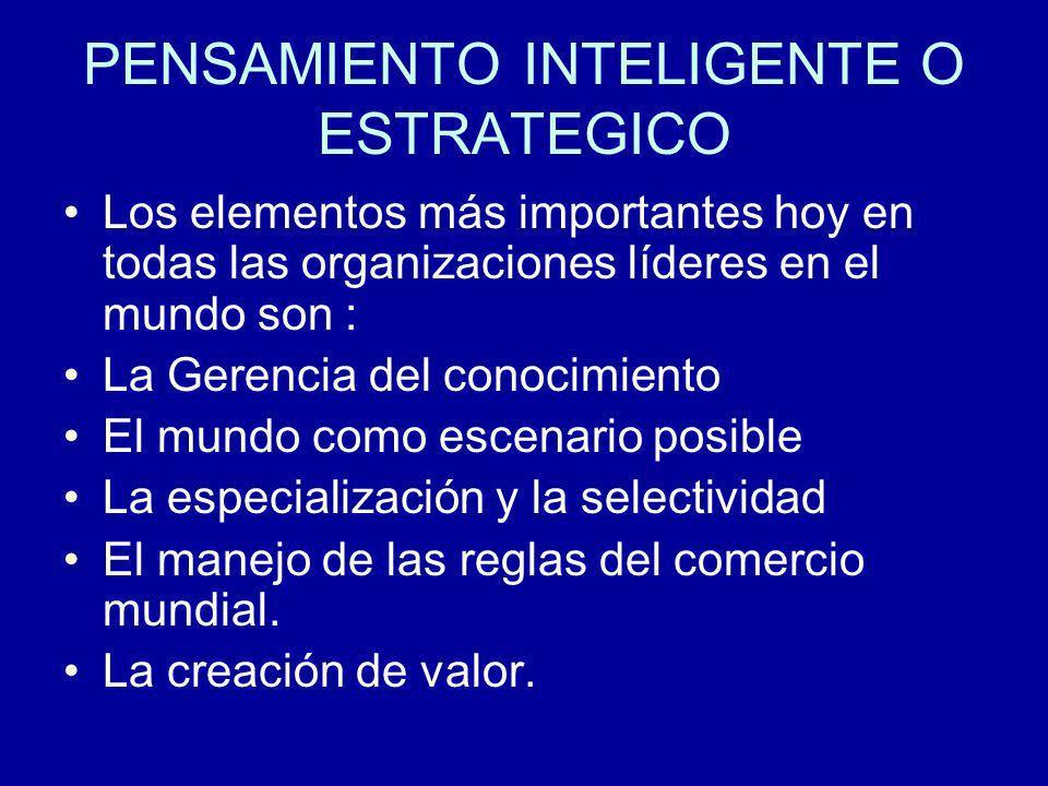 PENSAMIENTO INTELIGENTE O ESTRATEGICO Los elementos más importantes hoy en todas las organizaciones líderes en el mundo son : La Gerencia del conocimi