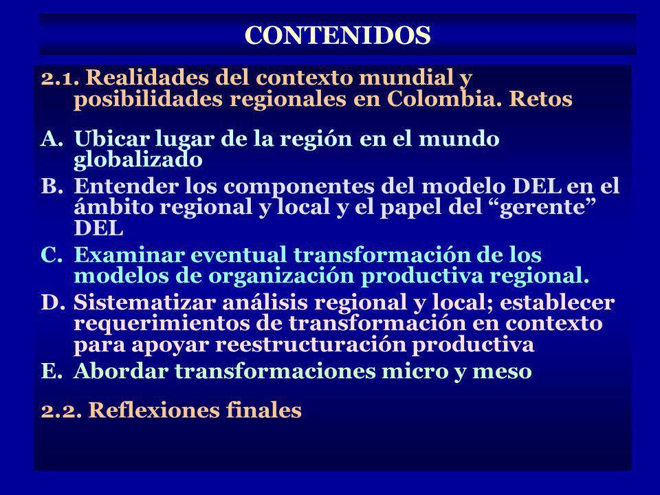 2.1. Realidades del contexto mundial y posibilidades regionales en Colombia. Retos A.Ubicar lugar de la región en el mundo globalizado B.Entender los