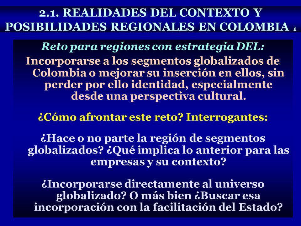 Reto para regiones con estrategia DEL: Incorporarse a los segmentos globalizados de Colombia o mejorar su inserción en ellos, sin perder por ello iden