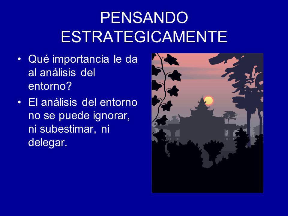 Qué importancia le da al análisis del entorno? El análisis del entorno no se puede ignorar, ni subestimar, ni delegar.