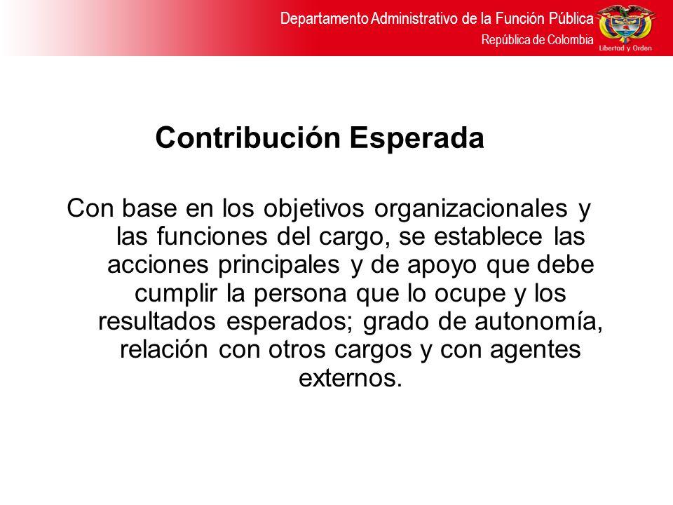 Departamento Administrativo de la Función Pública República de Colombia Contribución Esperada Con base en los objetivos organizacionales y las funcion