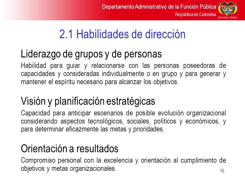 Departamento Administrativo de la Función Pública República de Colombia 16 2.1 Habilidades de dirección Liderazgo de grupos y de personas Habilidad pa