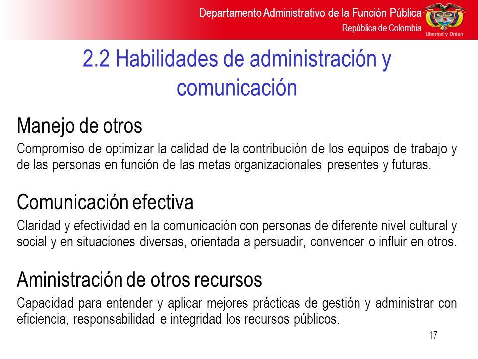 Departamento Administrativo de la Función Pública República de Colombia 17 2.2 Habilidades de administración y comunicación Manejo de otros Compromiso