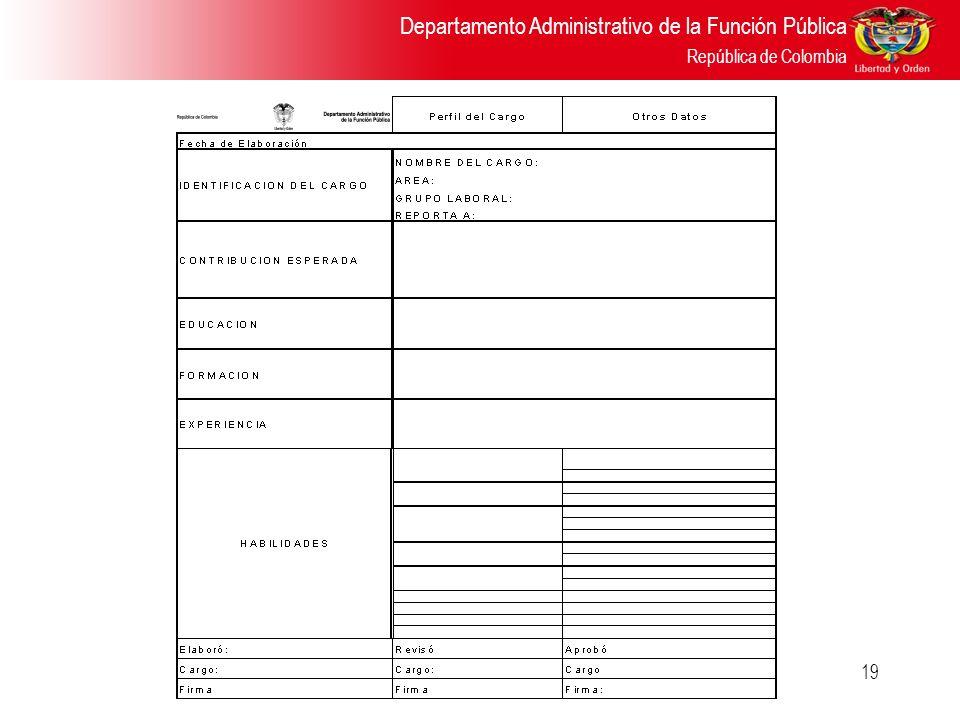 Departamento Administrativo de la Función Pública República de Colombia 19