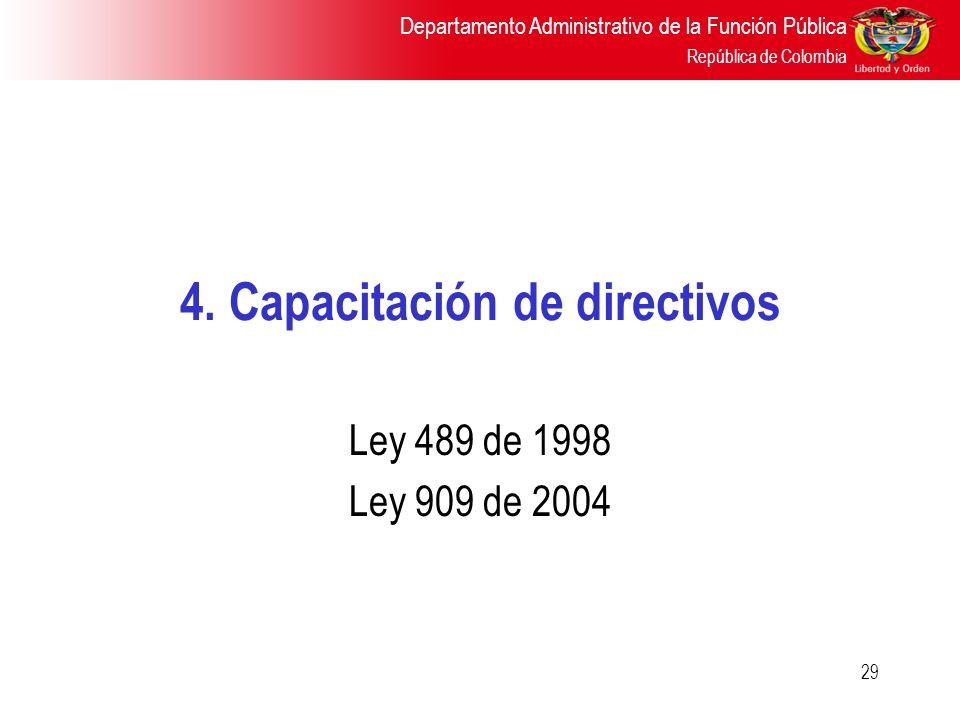 Departamento Administrativo de la Función Pública República de Colombia 29 4. Capacitación de directivos Ley 489 de 1998 Ley 909 de 2004