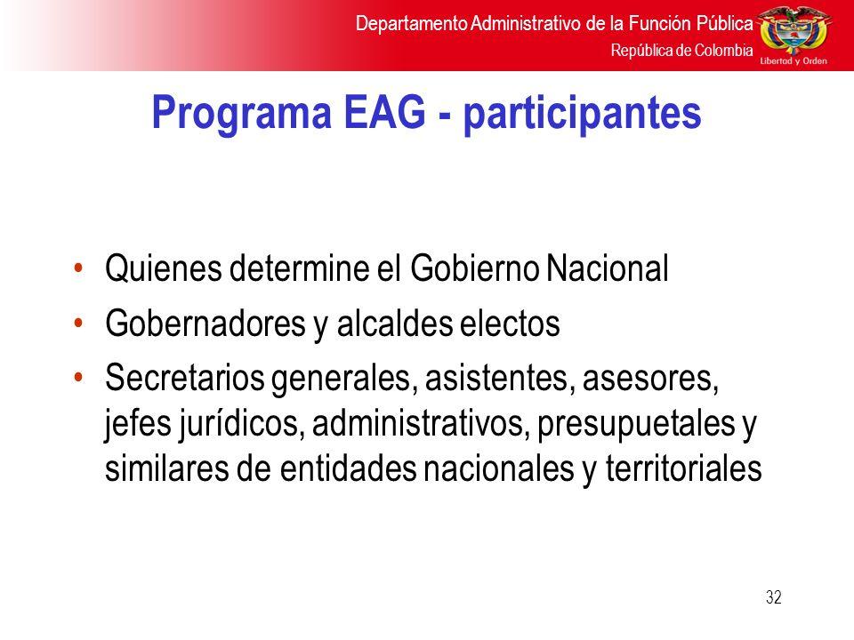 Departamento Administrativo de la Función Pública República de Colombia 32 Programa EAG - participantes Quienes determine el Gobierno Nacional Goberna