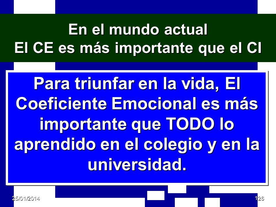 En el mundo actual El CE es más importante que el CI Para triunfar en la vida, El Coeficiente Emocional es más importante que TODO lo aprendido en el colegio y en la universidad.