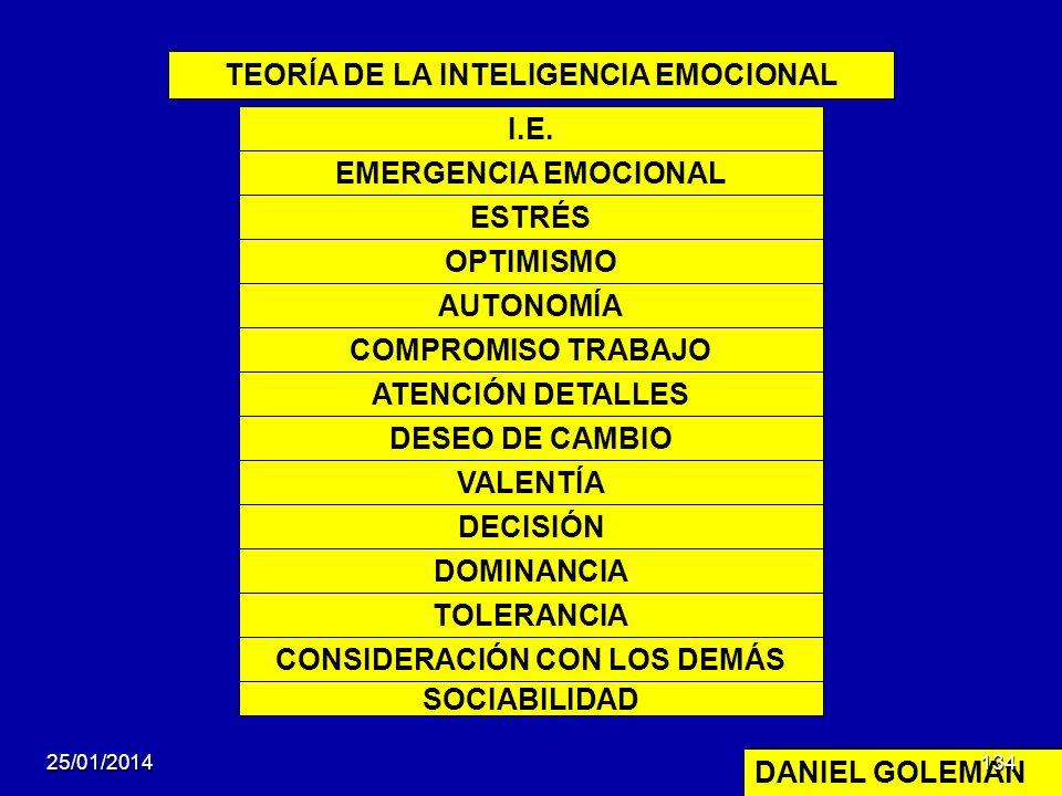 TEORÍA DE LA INTELIGENCIA EMOCIONAL DANIEL GOLEMAN I.E. EMERGENCIA EMOCIONAL ESTRÉS OPTIMISMO AUTONOMÍA COMPROMISO TRABAJO ATENCIÓN DETALLES DESEO DE