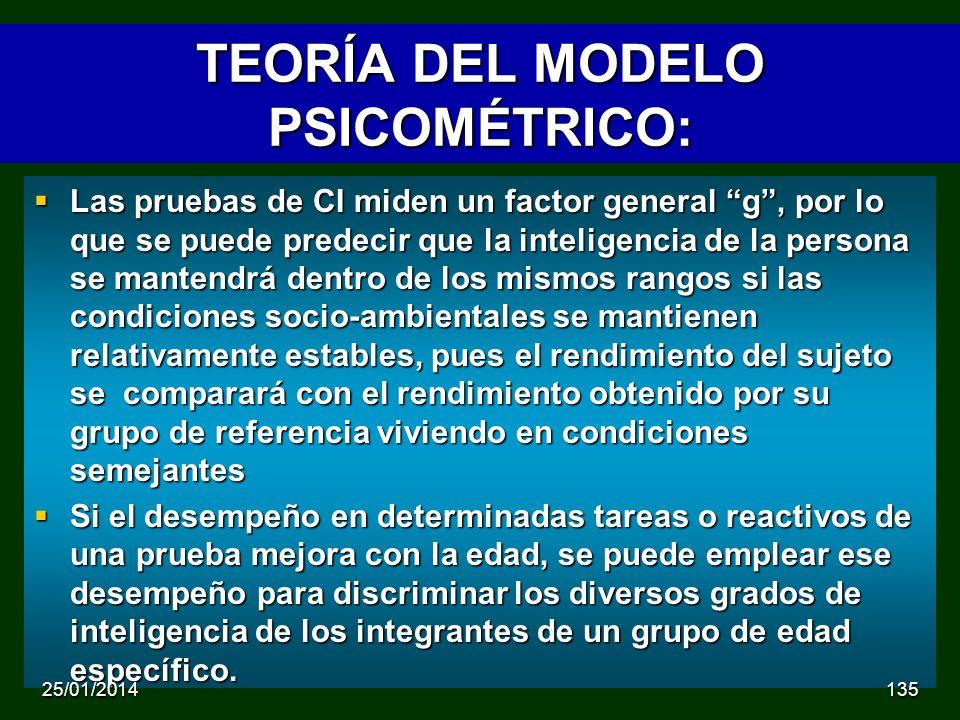 TEORÍA DEL MODELO PSICOMÉTRICO: Las pruebas de CI miden un factor general g, por lo que se puede predecir que la inteligencia de la persona se mantendrá dentro de los mismos rangos si las condiciones socio-ambientales se mantienen relativamente estables, pues el rendimiento del sujeto se comparará con el rendimiento obtenido por su grupo de referencia viviendo en condiciones semejantes Las pruebas de CI miden un factor general g, por lo que se puede predecir que la inteligencia de la persona se mantendrá dentro de los mismos rangos si las condiciones socio-ambientales se mantienen relativamente estables, pues el rendimiento del sujeto se comparará con el rendimiento obtenido por su grupo de referencia viviendo en condiciones semejantes Si el desempeño en determinadas tareas o reactivos de una prueba mejora con la edad, se puede emplear ese desempeño para discriminar los diversos grados de inteligencia de los integrantes de un grupo de edad específico.