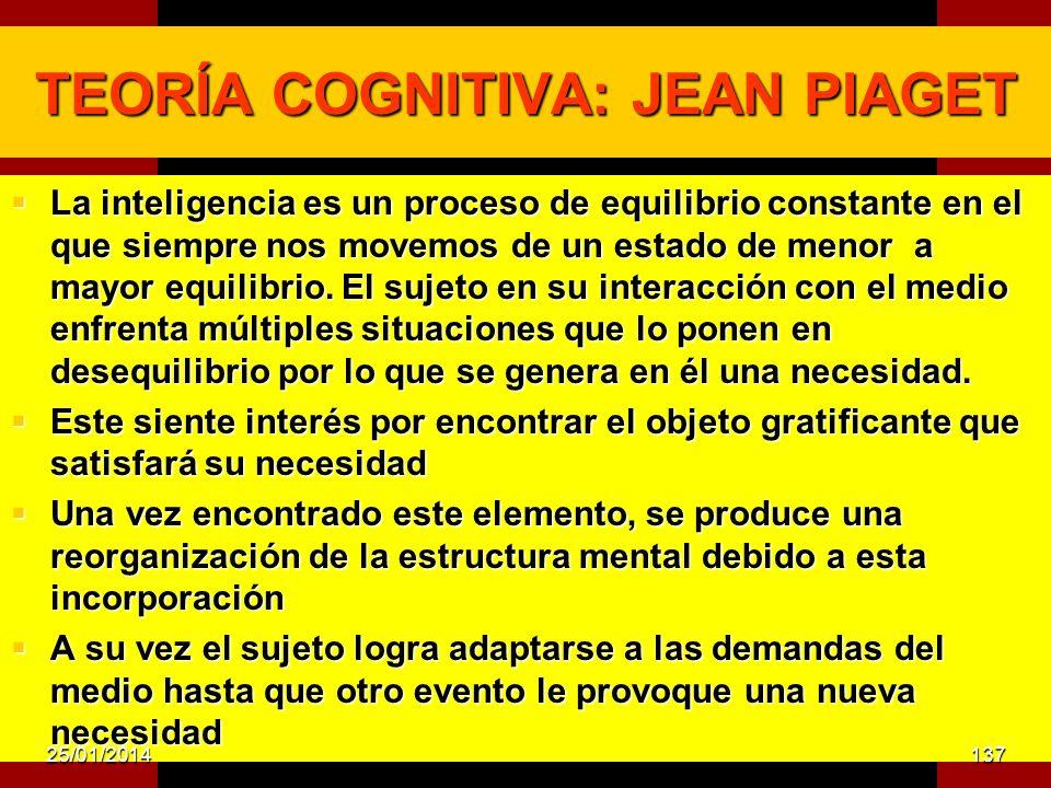 TEORÍA COGNITIVA: JEAN PIAGET La inteligencia es un proceso de equilibrio constante en el que siempre nos movemos de un estado de menor a mayor equilibrio.