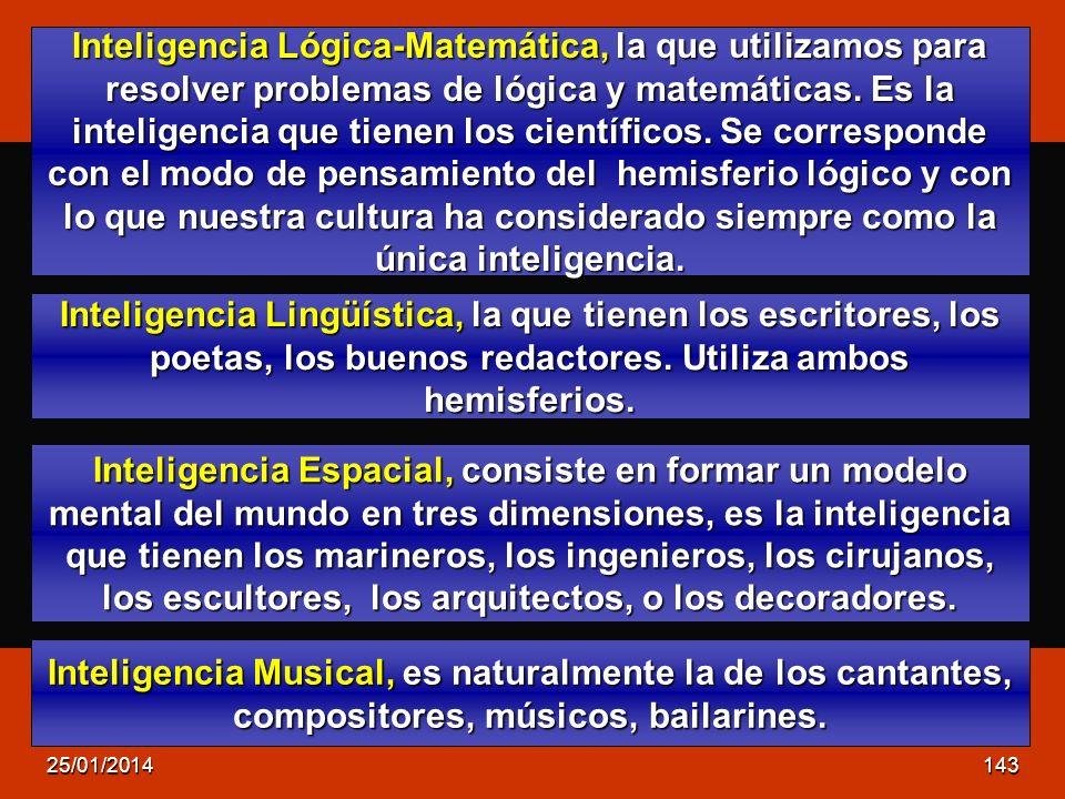 Inteligencia Lógica-Matemática, la que utilizamos para resolver problemas de lógica y matemáticas. Es la inteligencia que tienen los científicos. Se c