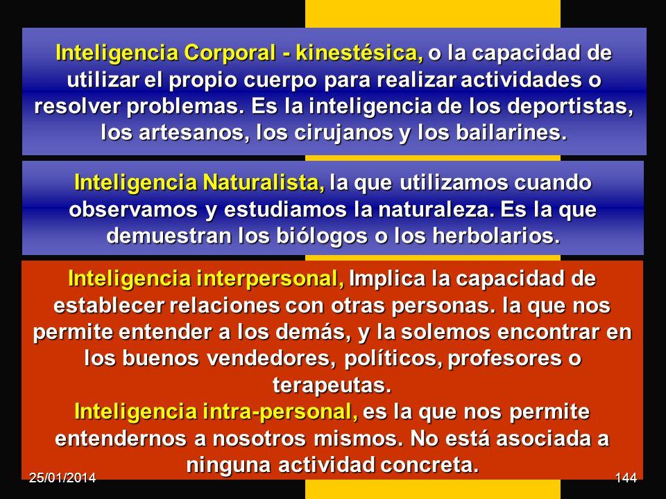 Inteligencia Naturalista, la que utilizamos cuando observamos y estudiamos la naturaleza. Es la que demuestran los biólogos o los herbolarios. Intelig