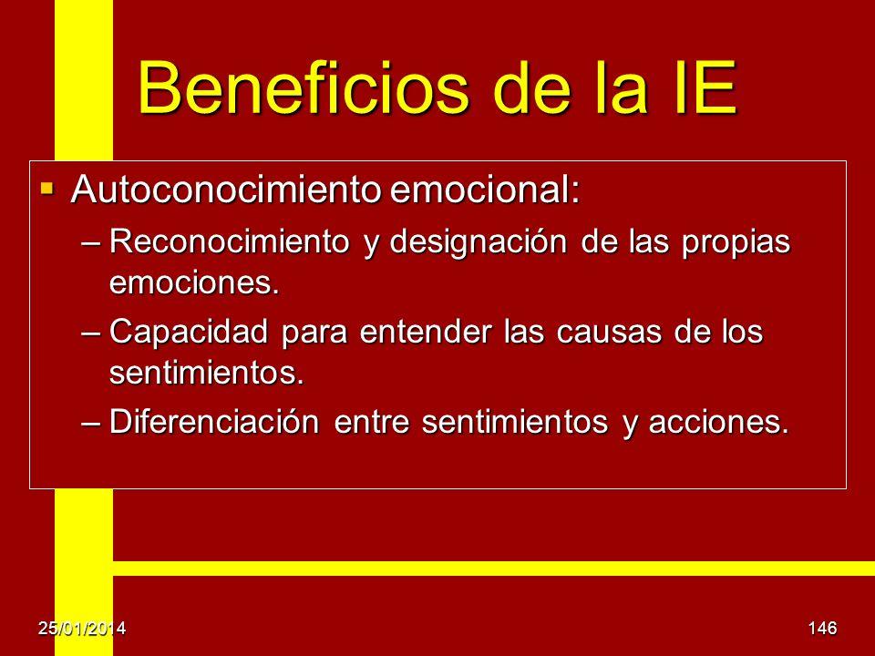 Beneficios de la IE Autoconocimiento emocional: Autoconocimiento emocional: –Reconocimiento y designación de las propias emociones. –Capacidad para en