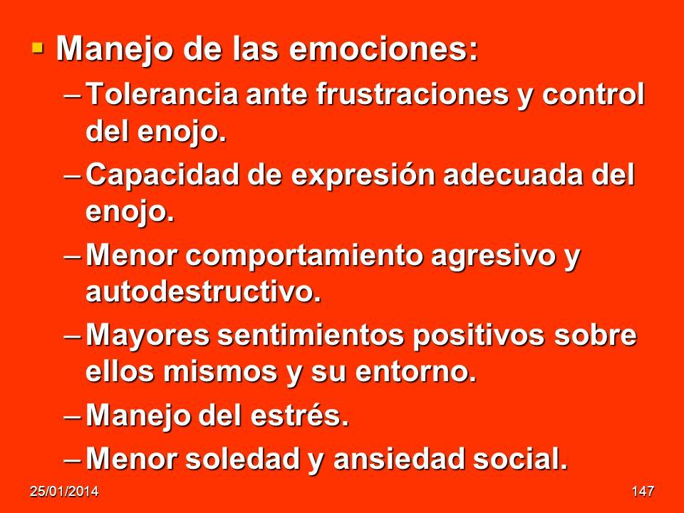Manejo de las emociones: Manejo de las emociones: –Tolerancia ante frustraciones y control del enojo. –Capacidad de expresión adecuada del enojo. –Men