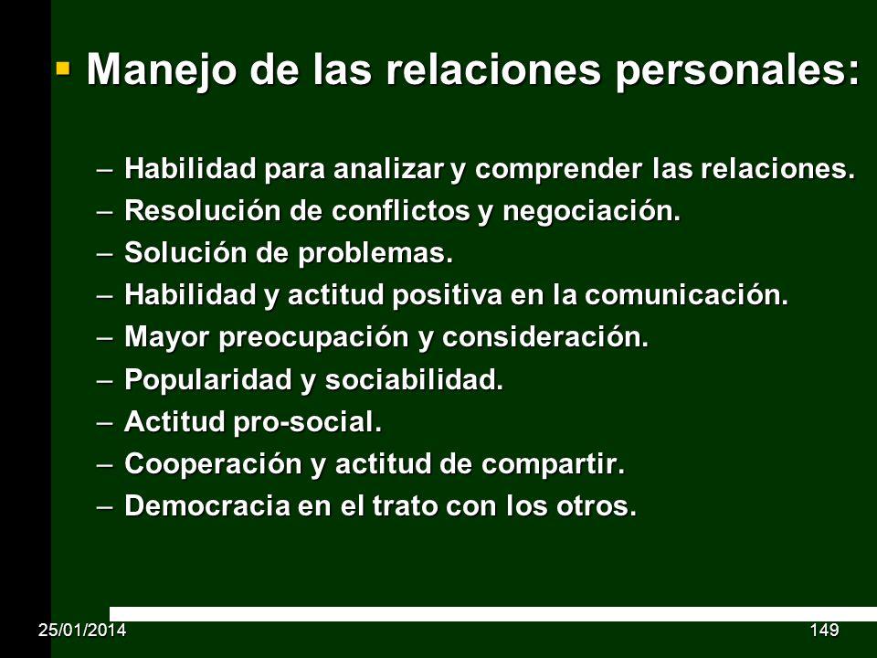 Manejo de las relaciones personales: Manejo de las relaciones personales: –Habilidad para analizar y comprender las relaciones. –Resolución de conflic